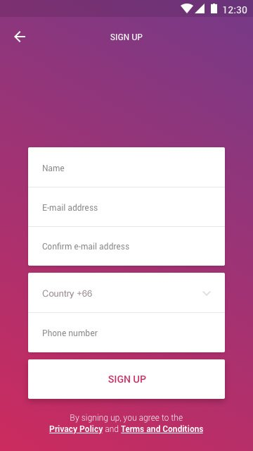 Mobile App Sign up screen